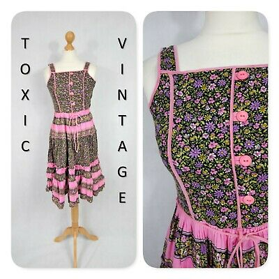 VINTAGE 1980's 1990's PINK FLORAL TIERED DRESS. 6-8. RETRO, BOHO, CHIC, PRETTY