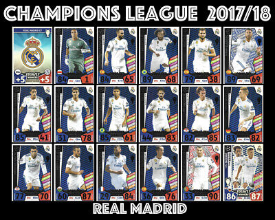 Match Attax Champions League  2017/18 Full 18 Card Team Set Real Madrid