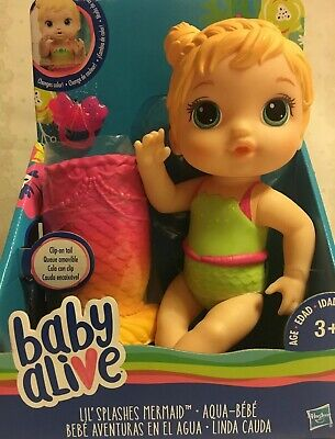 ✨Baby Alive Lil' Splashes Mermaid Blonde Top Changes Color Rare Doll Brand New✨