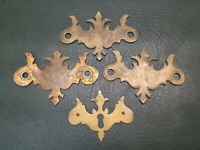 Lot of 4 Chippendale Brass Drawer Cabinet Pull Backplates Bat Wings 1 Escutcheon