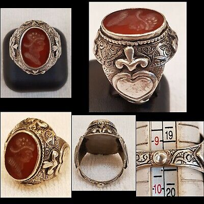 Wonderful Unique Old Silver Rare Ring With Agate Stone Roman King Face Intagilo
