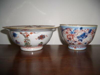 A Lot Of 2 Chinese Imari Style Porcelain Bowls, Early 18Th C., For Restoration.