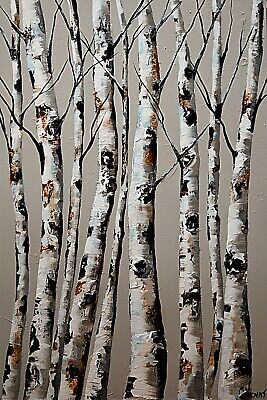 Original White Birch Trees painting Textured Birch Tree abstract painting Osnat