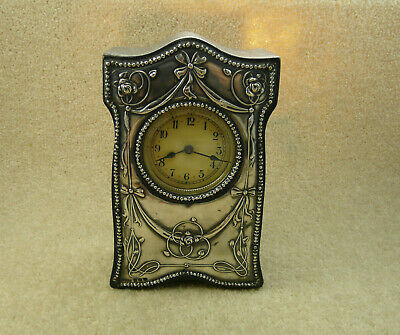 Vintage 1911 Silver Hallmarked Art Nouveau Clock By The Boots Drug Company N/W