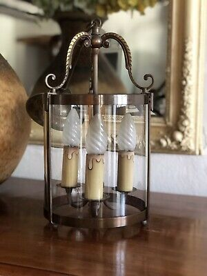 Vintage French Brass Cylinder Lantern 3 Light Porch Pendant