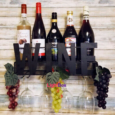 Wall-Mounted Wine Metal Rack Shelf Storage Bottle Glass Holder Bar Home Champagn
