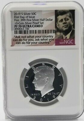 2019 S First Day of Issue Kennedy Half PF70 NGC Ask  Label First .999 Silver