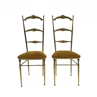 Chiavari Style Brass Accent Side Chairs Vintage Midcentury Neoclassical regency
