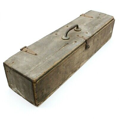 "36"" Antique Wooden Carpenters Toolbox Primitive Carrying Vintage Tote Wood Trunk"