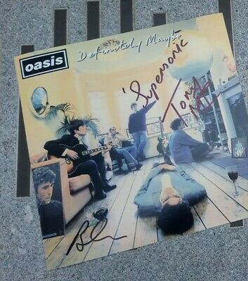 Oasis Tony MCcaroll Brian Cannon Definitely Maybe Signed Autograph Photo Genuine
