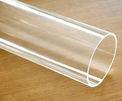 "Clear acrylic Plastic Plexiglass Pipe tube 4"" 114 mm by foot Fits 4"" PVC fitting"