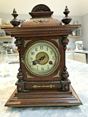 Antique German 8 Day Mantle Or Bracket Clock In Need Of Tlc