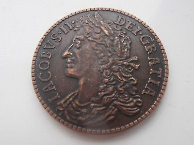 Rare 1689 James 11 Gunmoney Half Crown Fantasy Coin
