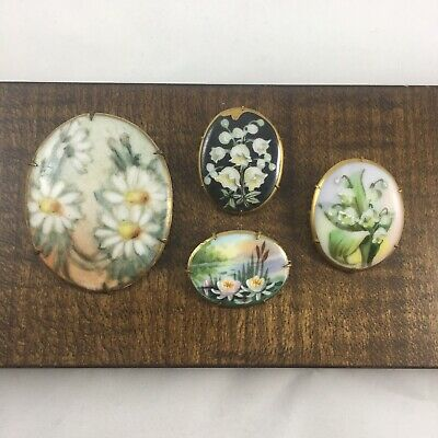 Lot Of Antique Victorian Handpainted Porcelain Brooches Water Lilly Flowers