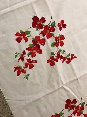 """Vintage Printed Cotton Tablecloth Print Red Dogwood  1950s Mint  54X64.5"""" FLORAL"""