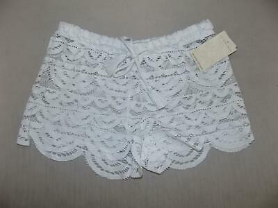 523804ac86963 Miken Juniors White Scalloped Crochet Cover Up Shorts Swimsuit NWT Size S A3