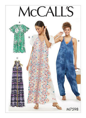 McCall's Sewing Pattern 7598 Misses 6-14 Easy Loose Fitting Jumpsuit Dresses