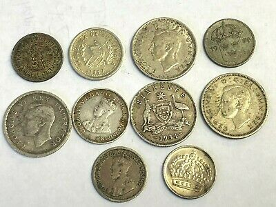 10 x World / Foreign vintage SILVER Coins - variety lot, as pictured, Lot #80