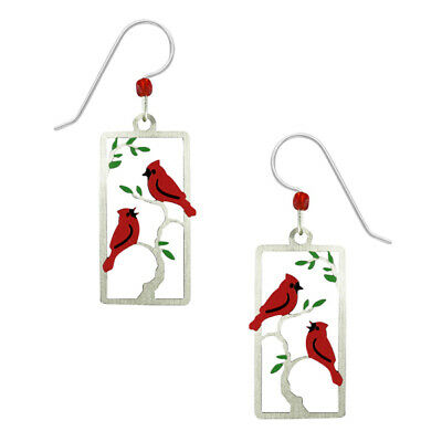 Sienna Sky Red Cardinal Birds in a Tree Pierced Earrings Handcrafted in Colorado