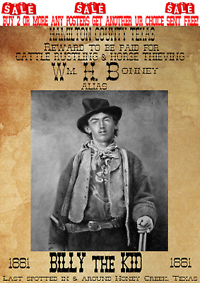 Old West Wanted Poster Billy The Kid Hico Outlaw Garrett Western Reward