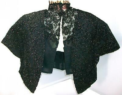 Antique, Victorian beaded and lace cape and blouse set, for wearing or big doll.