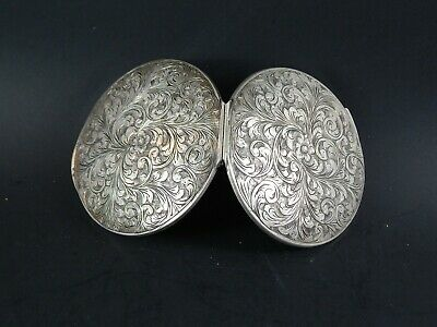 Antique Victorian  Sterling Silver Folding Compact Case No Monogram