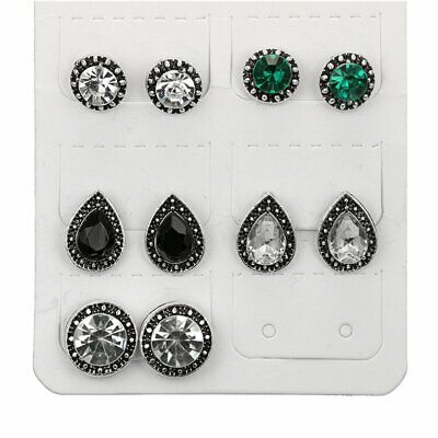 Women Stud Earrings Cubic Zirconia Water Drop Green Black Gemstones 5 Pairs/Set