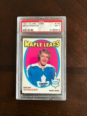 Brian Spencer Toronto Maple Leafs Rookie 1971 OPC Card Graded PSA 7
