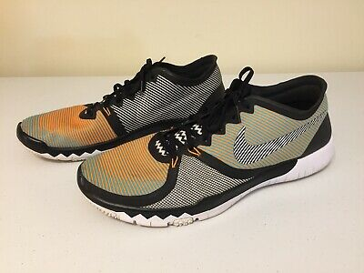 watch ca6ab b4b86 Men s Nike Free Trainer 3.0 V4 Flyknit Orange Gamma Blue Sz 14 GUC