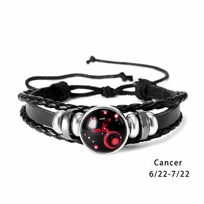 Handmade Zodiac 12 Constellations Leather Alloy Charm Bracelets Unisex Jewelry