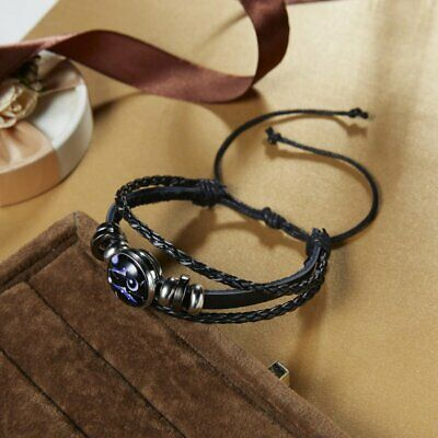 Fashion Unisex Gemini Zodiac 12 Constellations Leather Charm Bracelets Jewelry