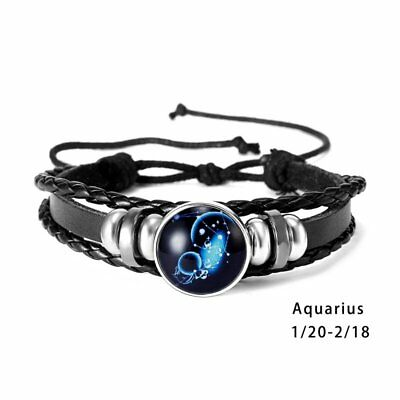 Vintage Zodiac 12 Constellations Leather Alloy Charm Bracelets Unisex Jewelry
