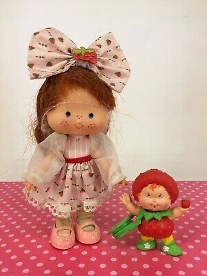 Vintage 1980s Strawberry Shortcake - Berrykin Doll with Replica Critter