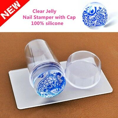 Clear Silicone Stamper Scraper Cap Stamping Jelly Nail Art Beauty Tool-Quality
