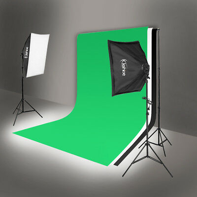 Photo Photography 2 SoftBox Studio Light Bulb Lighting Kit Backdrop Stand