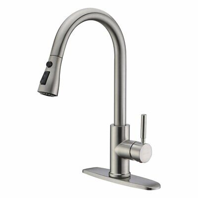 WEWE Single Level /Handle High Arc Brushed Nickel Pull out Kitchen Sink Faucet