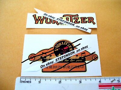 Wurlitzer Jukebox machine Water Release Decals 1940,s vintage vending clear back