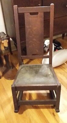 Mission Oak Stickley Rocking Chair – Gustav Stickley  Arts and Crafts Signed