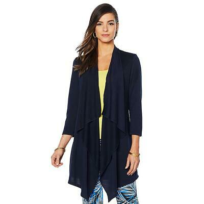 Slinky Brand Drape Front French Terry Knit Duster