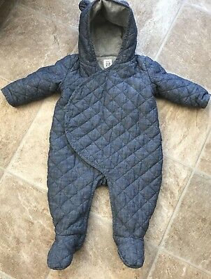 Gap Baby Snow Suit/All In one  Blue/Grey 6-12 Months Poppers Ears on Hood Warm