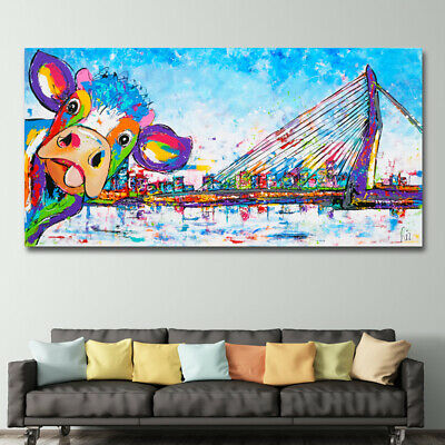 Colorful Cow In Rotterdam Animal Poster And Prints Abstract Wall Art Pictures