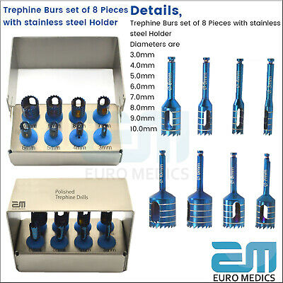 Dental Implant Trephine Drills Kit 8 Pcs Set Surgical Tools FREE Bur Holder CE