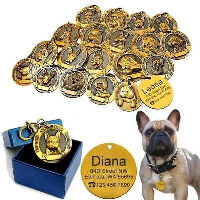 3D Gold Personalised Dog Tags Pet ID Tag Engraved Tag 18 Breeds Bulldog  Pitbull