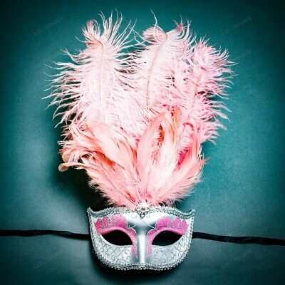 Venetian Silver Pink Masquerade Mask Show Girl Ostrich Feather Eye Mask Costume