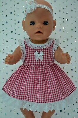 "Play n Wear Dolls Clothes To Fit 17"" Baby Born  HOT PINK GINGHAM DRESS~HEADBAND"