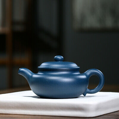 Chinese yixing tea pot marked handmade carved blessing pot real zisha green clay