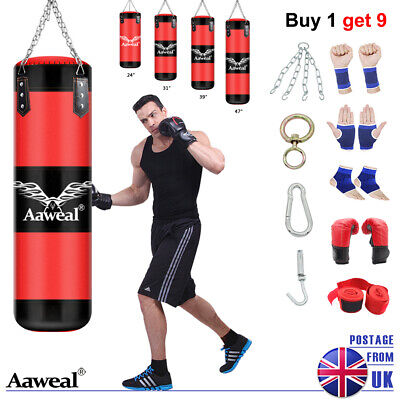 Kick Boxing Punch Bag Set Heavy MMA Punching Training Gloves Focus Arm Pad Mitts