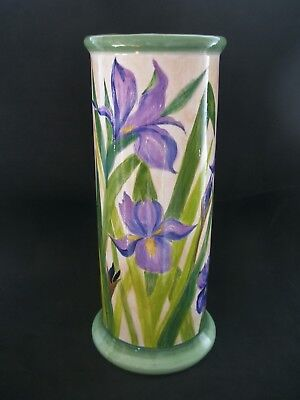 Impressive 45cm Tall CERAMIC CYLINDER VASE Blue Iris Flowers Hand Painted Signed