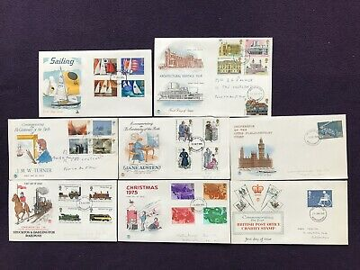 8 UK Royal Mail FIRST DAY COVERS - 1975 Stamps Stockton & Darlington Railway etc
