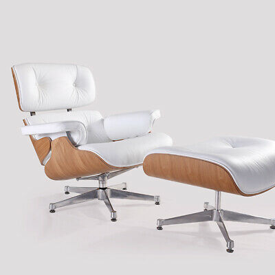 Premium Lounge Chair and Footstools Ottoman White Genuine Leather Ash wood